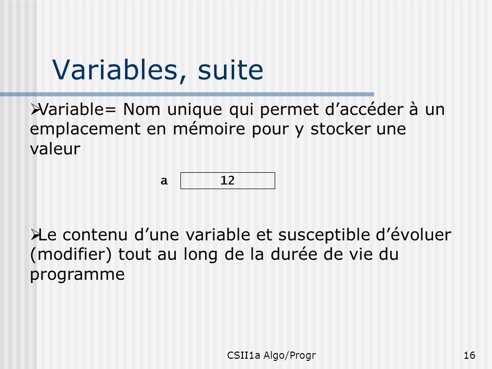 Variables, suite Variable= Nom unique qui permet d'accéder à un emplacement en mémoire pour y stocker une valeur.