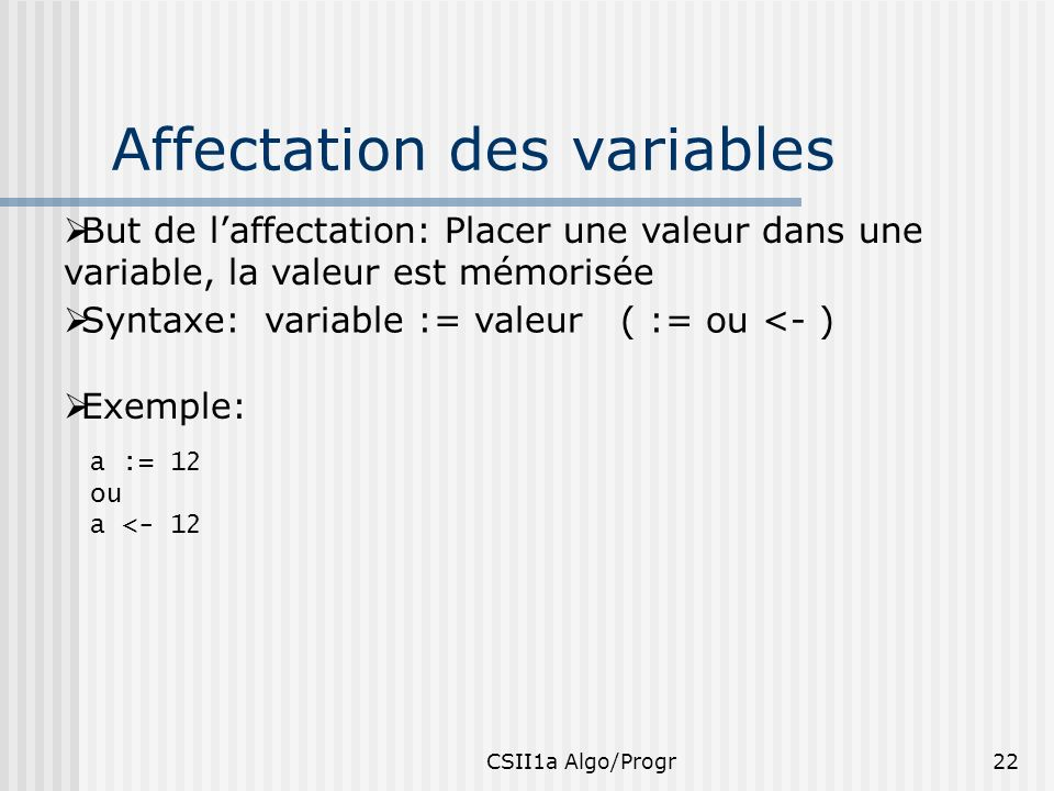 Affectation des variables