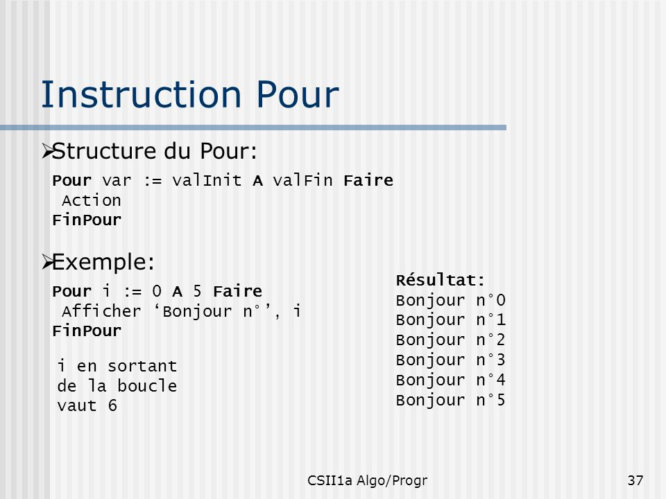 Instruction Pour Structure du Pour: Exemple: