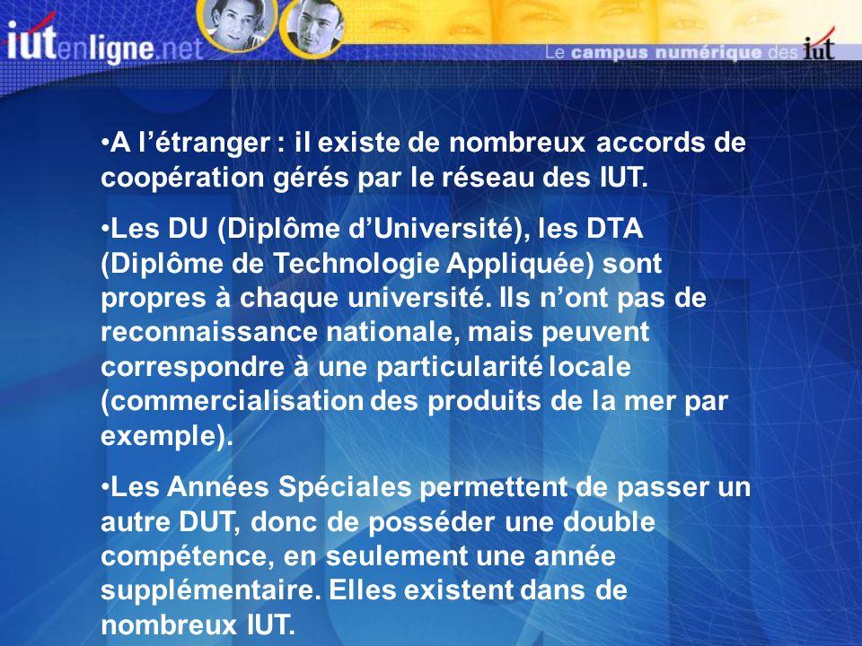 A l'étranger : il existe de nombreux accords de coopération gérés par le réseau des IUT.