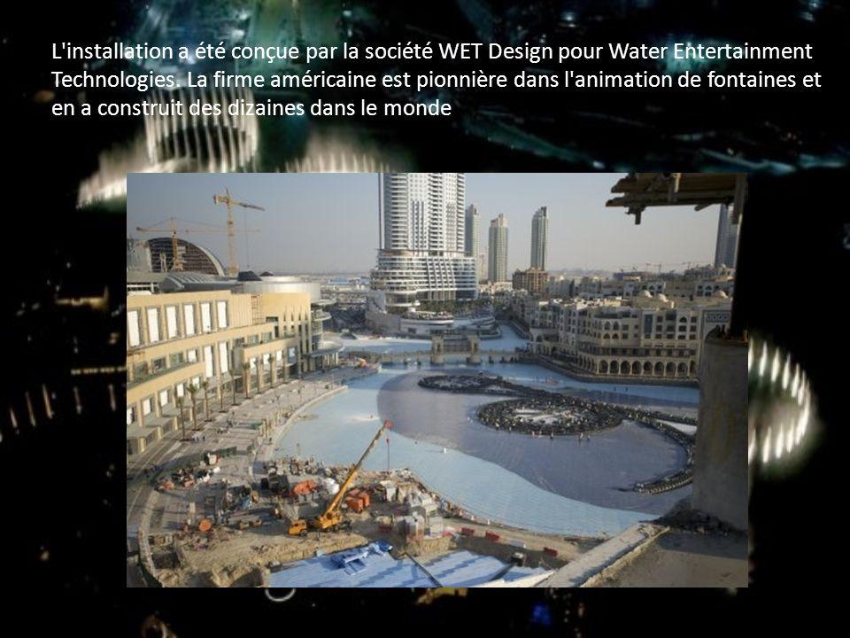 L installation a été conçue par la société WET Design pour Water Entertainment Technologies.