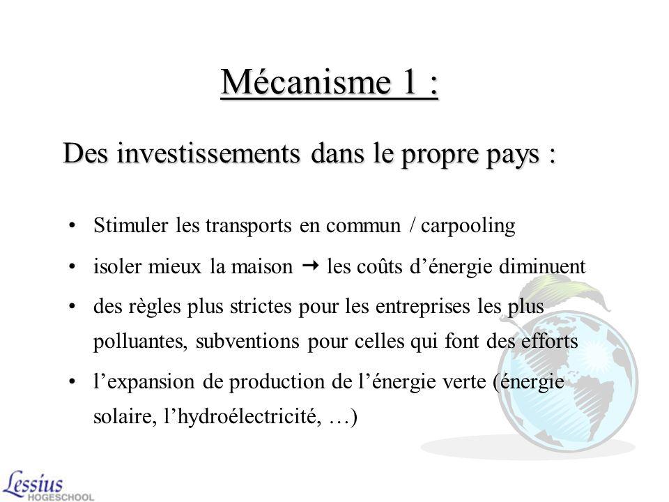 Mécanisme 1 : Des investissements dans le propre pays :