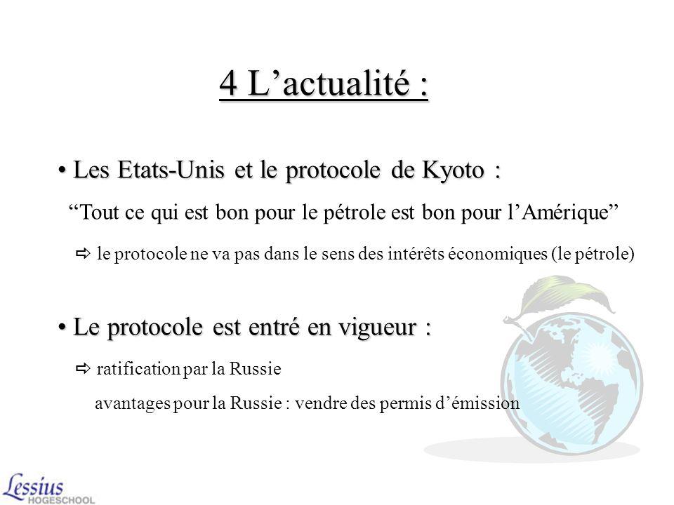 4 L'actualité : Les Etats-Unis et le protocole de Kyoto :