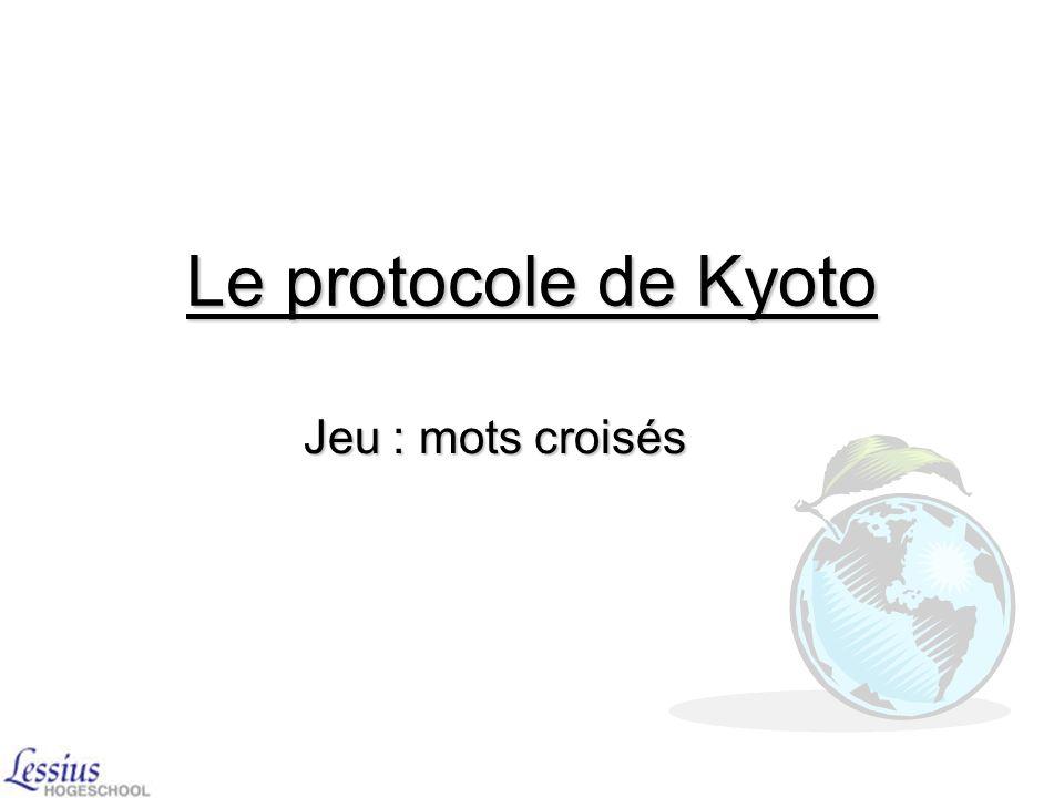 Le protocole de Kyoto Jeu : mots croisés