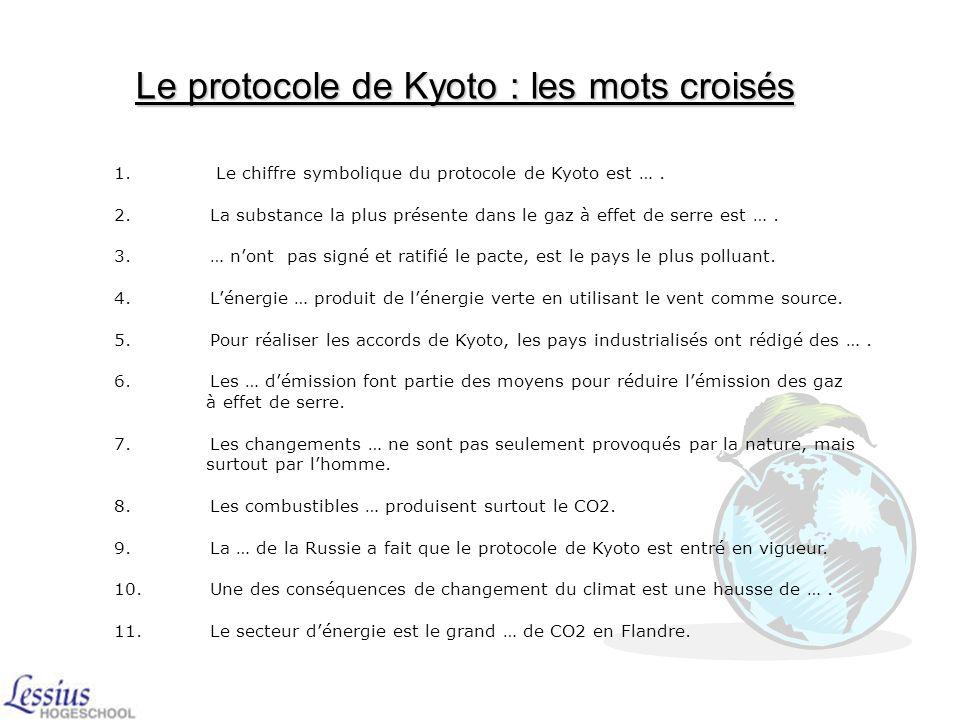 Le protocole de Kyoto : les mots croisés