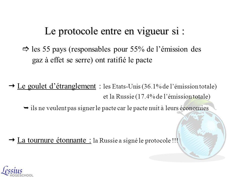 Le protocole entre en vigueur si :