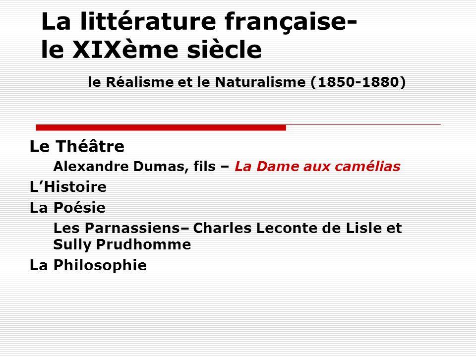 La littérature française- le XIXème siècle