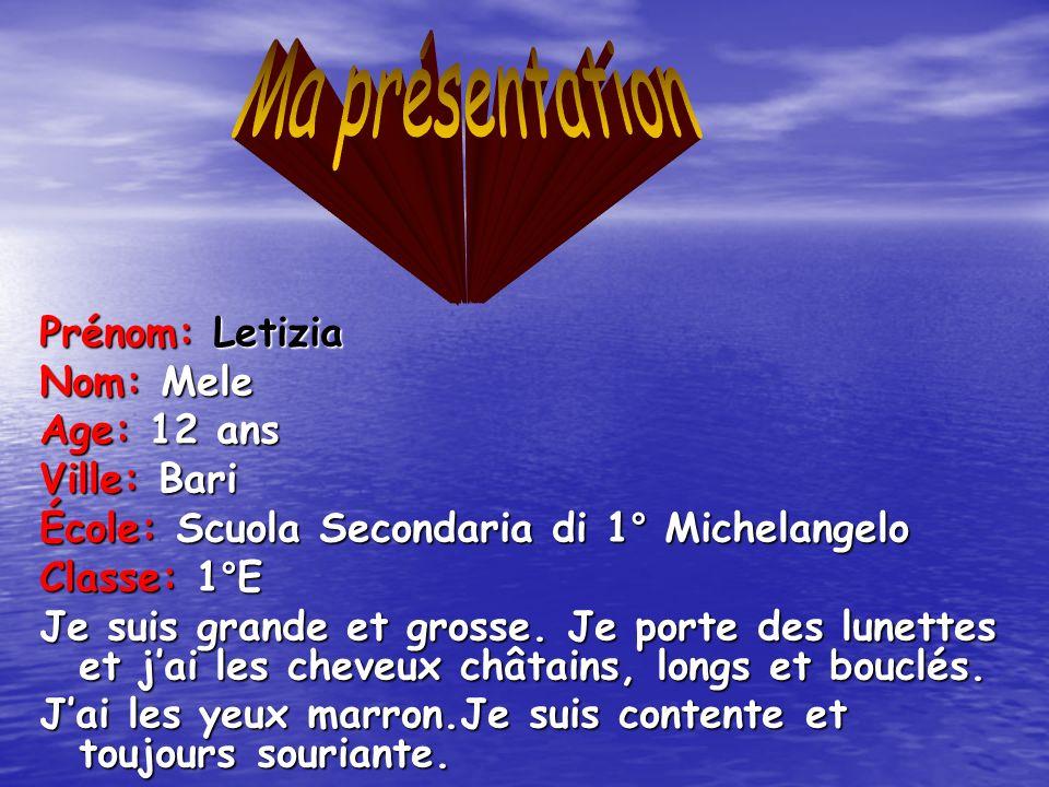 Ma présentation Prénom: Letizia Nom: Mele Age: 12 ans Ville: Bari