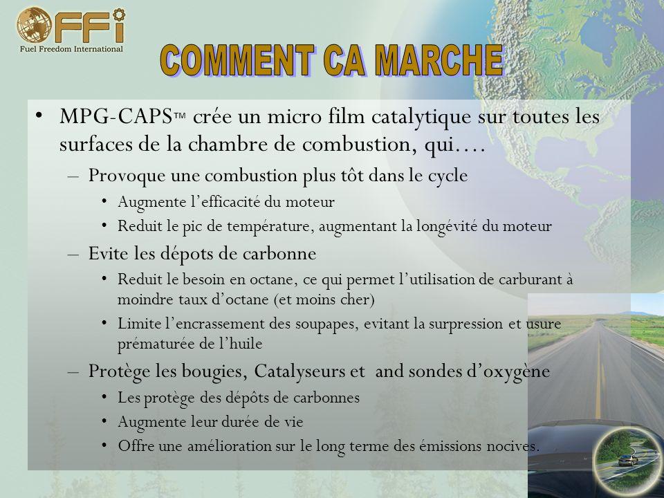 COMMENT CA MARCHE MPG-CAPS™ crée un micro film catalytique sur toutes les surfaces de la chambre de combustion, qui….