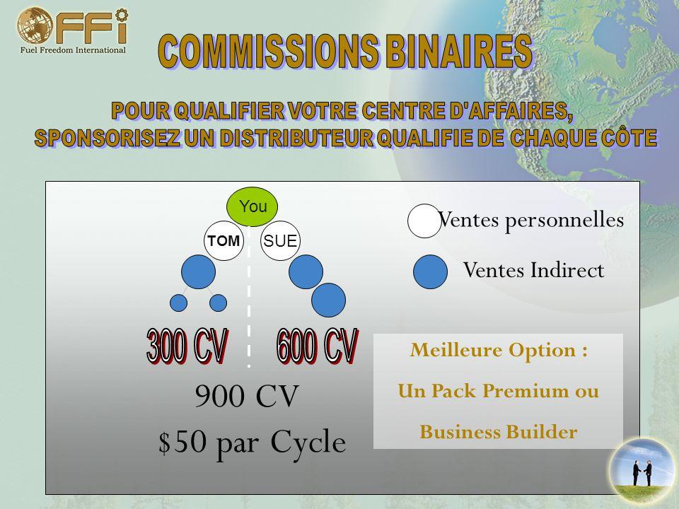 300 CV 600 CV 900 CV $50 par Cycle Ventes personnelles Ventes Indirect