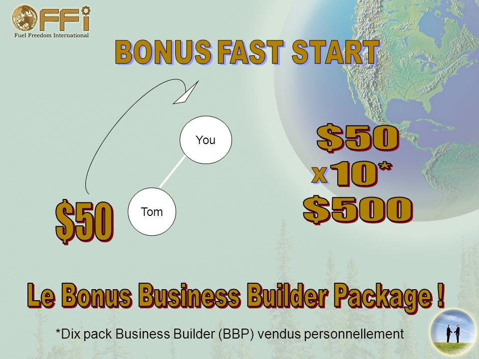 $50 10* $500 $50 Le Bonus Business Builder Package ! BONUS FAST START