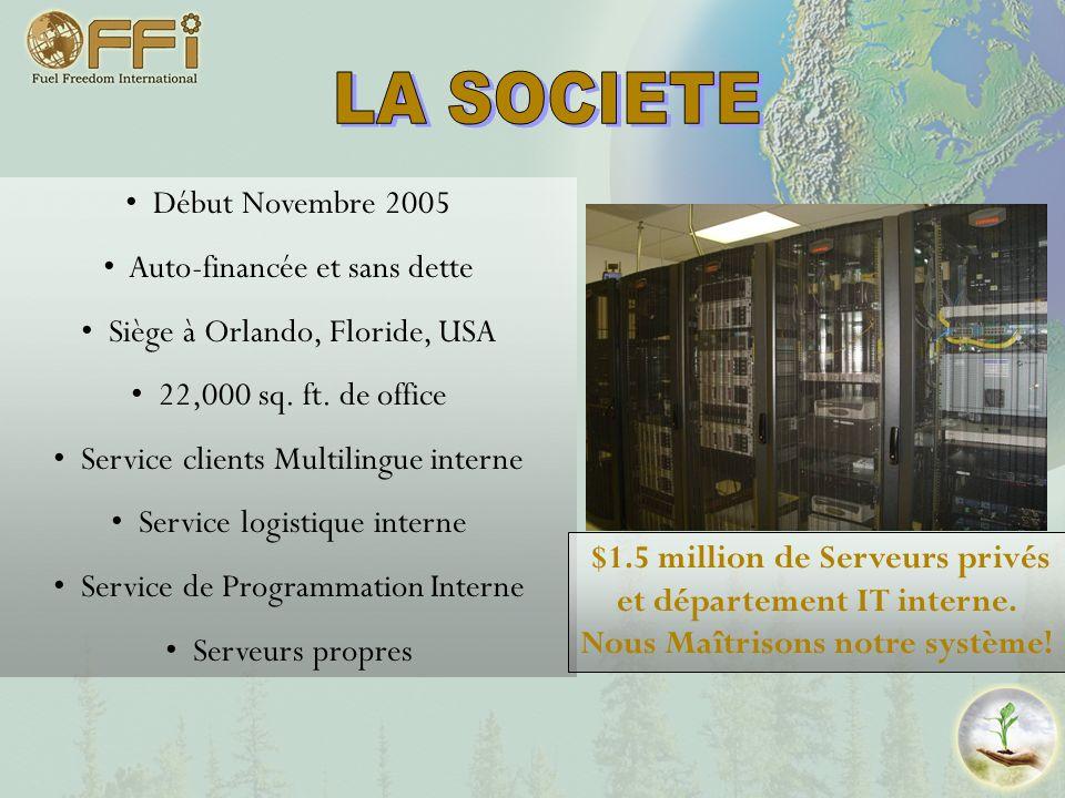LA SOCIETE Début Novembre 2005 Auto-financée et sans dette