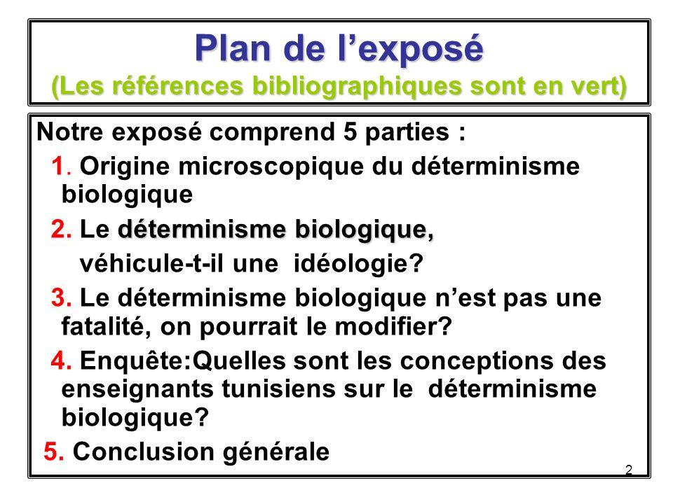 Plan de l'exposé (Les références bibliographiques sont en vert)