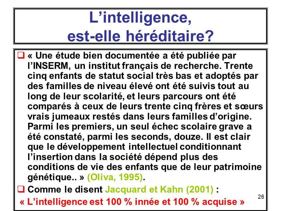L'intelligence, est-elle héréditaire