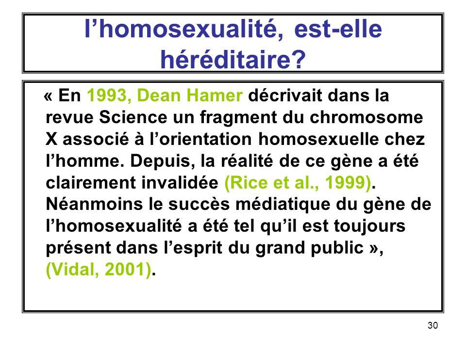 l'homosexualité, est-elle héréditaire