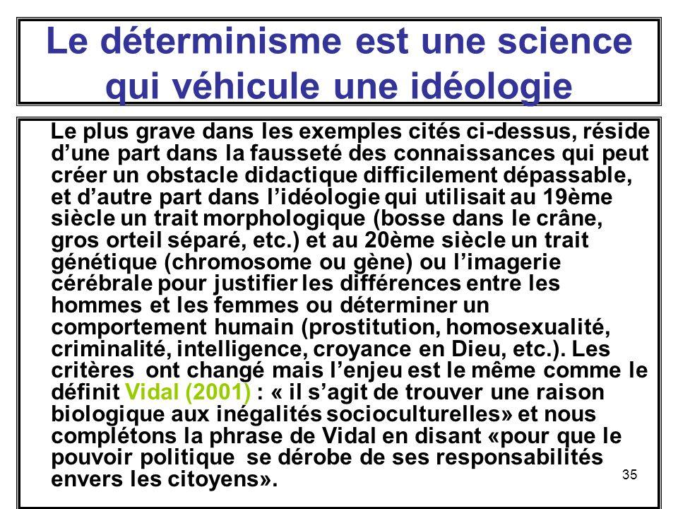Le déterminisme est une science qui véhicule une idéologie