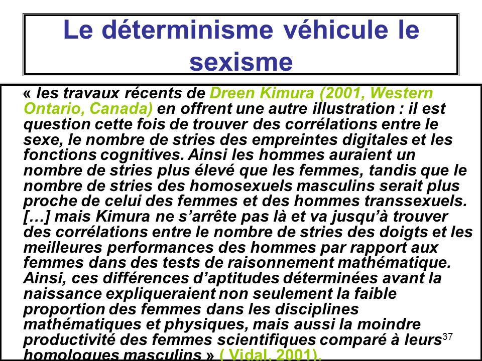Le déterminisme véhicule le sexisme