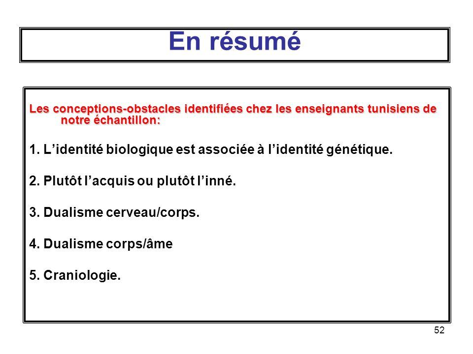 En résumé Les conceptions-obstacles identifiées chez les enseignants tunisiens de notre échantillon: