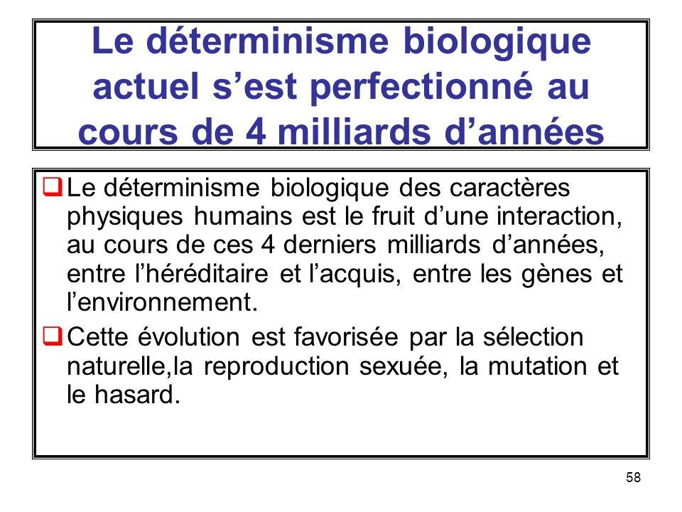 Le déterminisme biologique actuel s'est perfectionné au cours de 4 milliards d'années