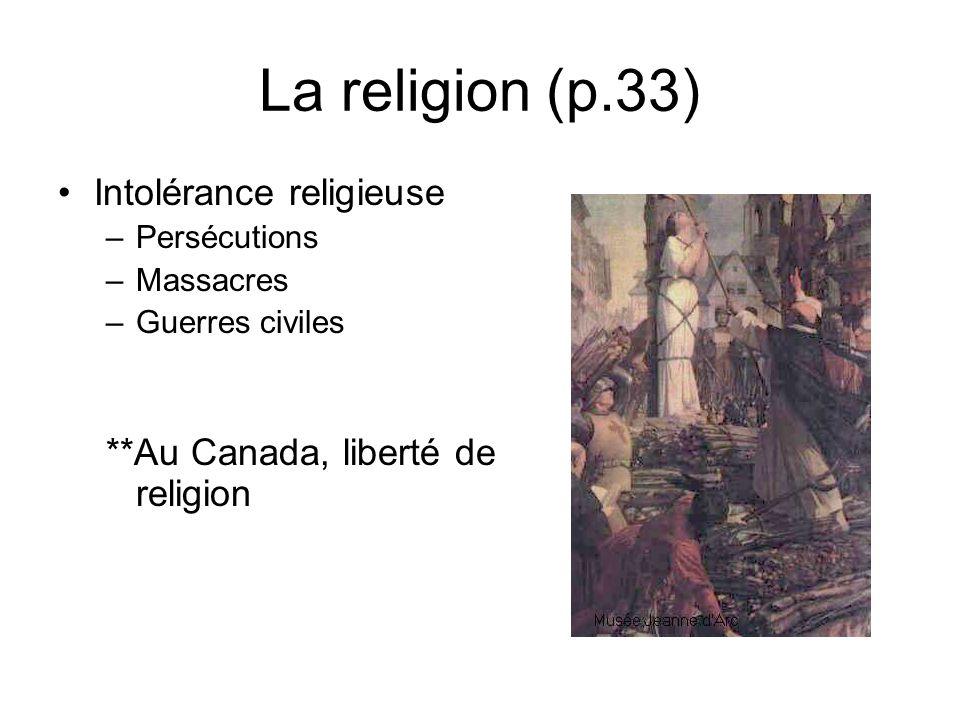 La religion (p.33) Intolérance religieuse