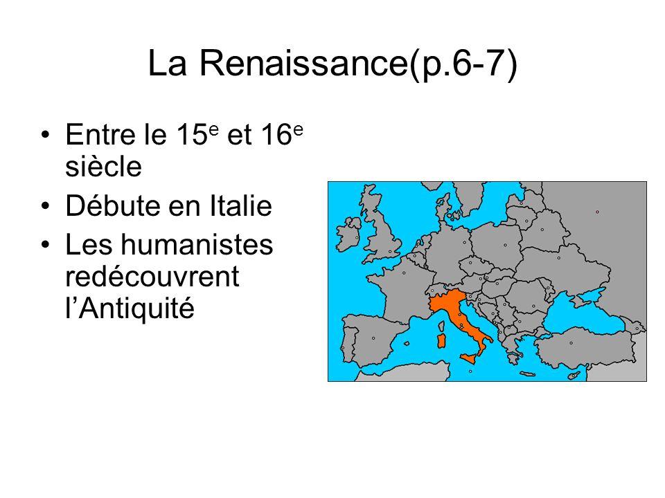 La Renaissance(p.6-7) Entre le 15e et 16e siècle Débute en Italie