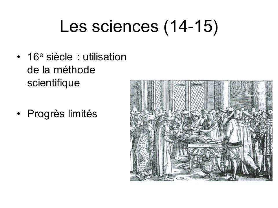 Les sciences (14-15) 16e siècle : utilisation de la méthode scientifique Progrès limités