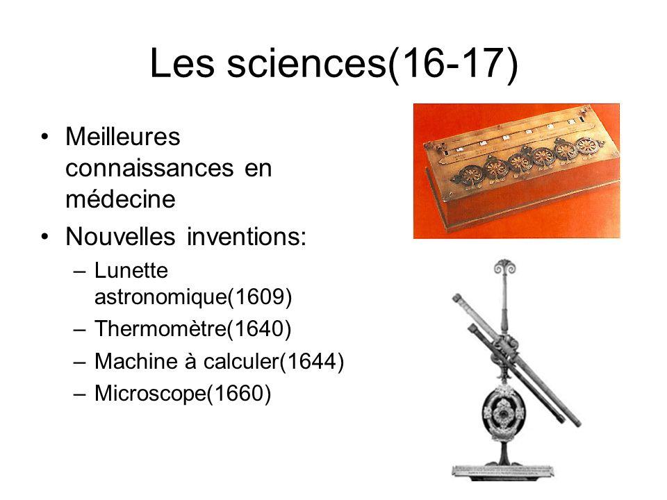 Les sciences(16-17) Meilleures connaissances en médecine
