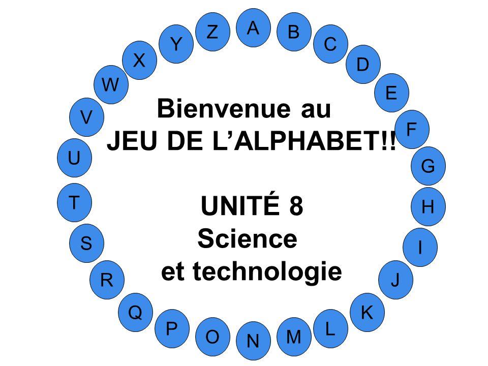 Bienvenue au JEU DE L'ALPHABET!! UNITÉ 8 Science et technologie