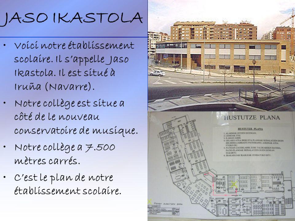 JASO IKASTOLA Voici notre établissement scolaire. Il s'appelle Jaso Ikastola. Il est situé à Iruña (Navarre).