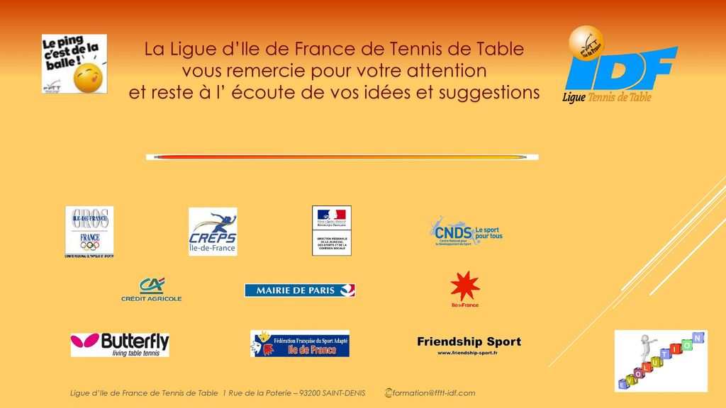Sondage sur les besoins en formations continues des - Ligue ile de france de tennis de table ...