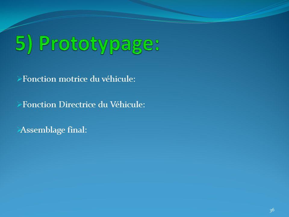 5) Prototypage: Fonction motrice du véhicule: