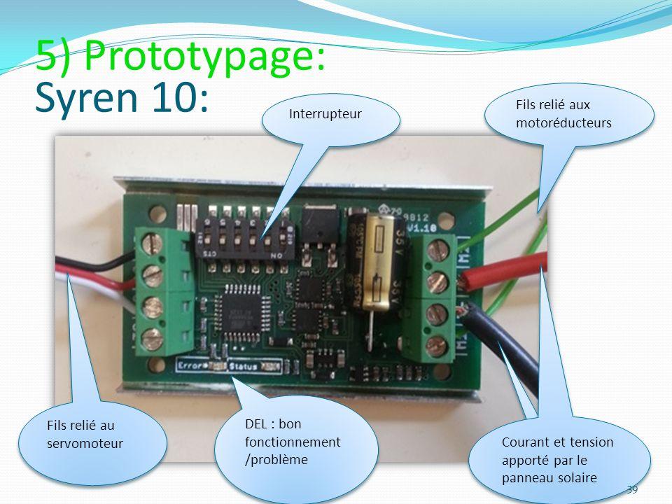 5) Prototypage: Syren 10: Fils relié aux motoréducteurs Interrupteur