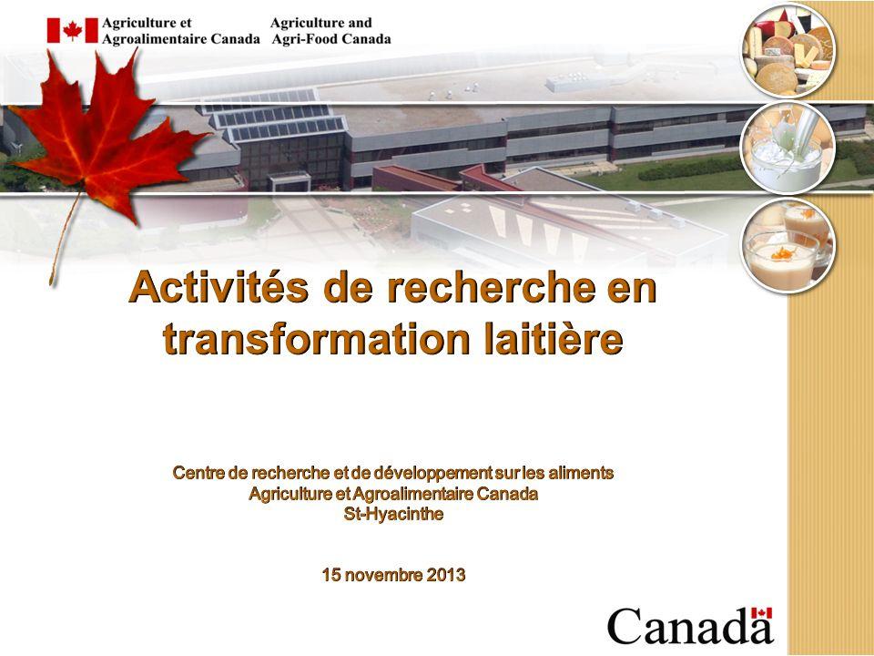 Activités de recherche en transformation laitière