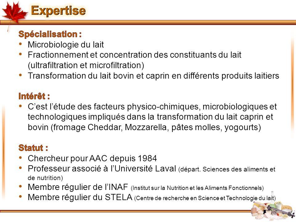 Expertise Spécialisation : Microbiologie du lait