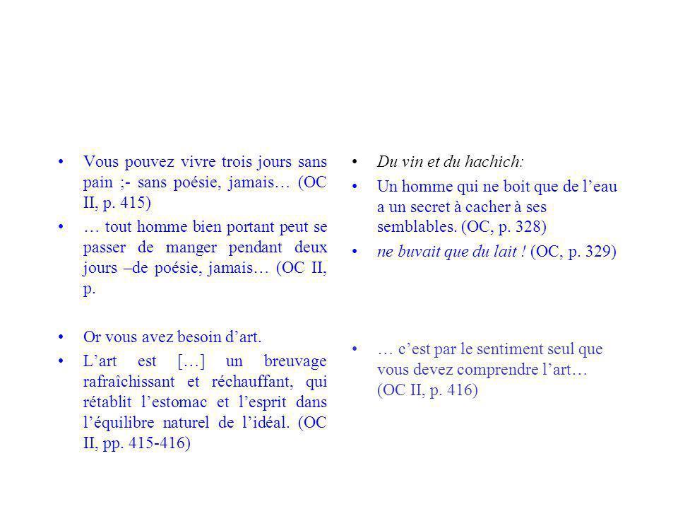 Vous pouvez vivre trois jours sans pain ;- sans poésie, jamais… (OC II, p. 415)