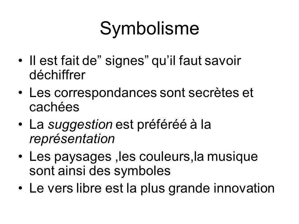 Symbolisme Il est fait de signes qu'il faut savoir déchiffrer