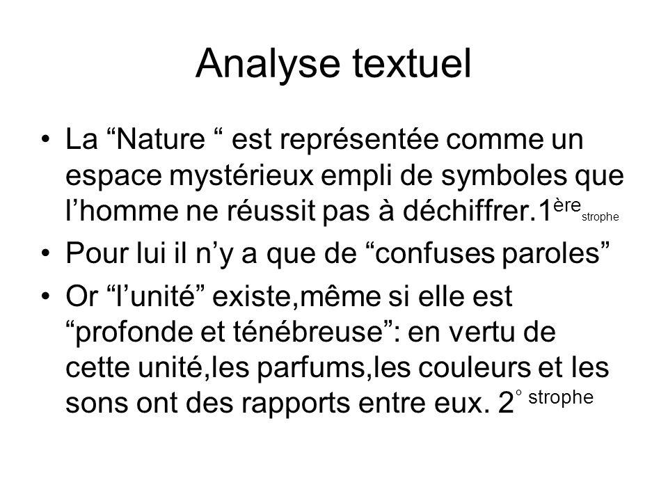 Analyse textuel La Nature est représentée comme un espace mystérieux empli de symboles que l'homme ne réussit pas à déchiffrer.1èrestrophe.