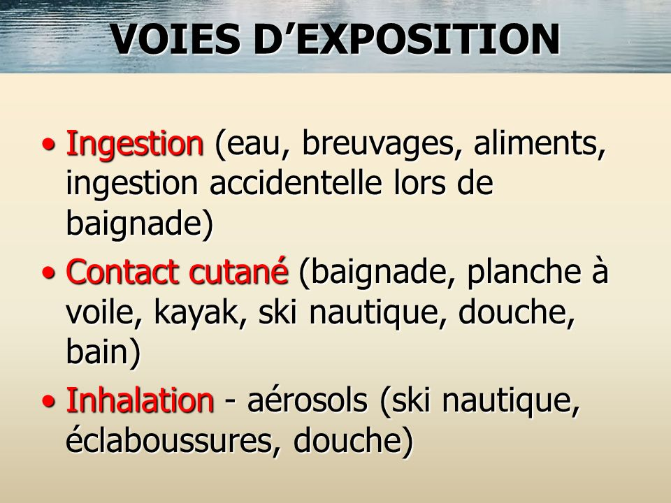 VOIES D'EXPOSITION Ingestion (eau, breuvages, aliments, ingestion accidentelle lors de baignade)