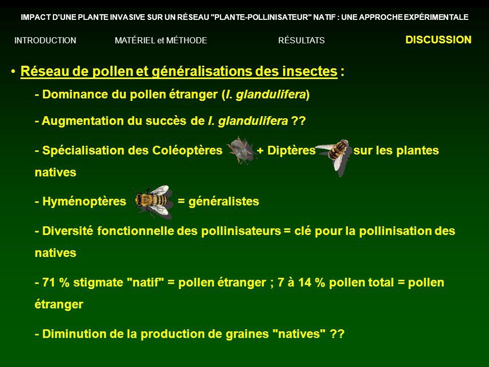 Réseau de pollen et généralisations des insectes :