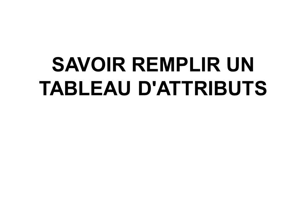 SAVOIR REMPLIR UN TABLEAU D ATTRIBUTS