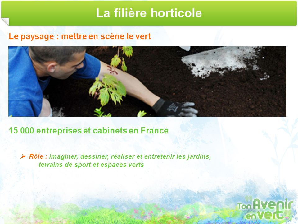 La filière horticole Le paysage : mettre en scène le vert