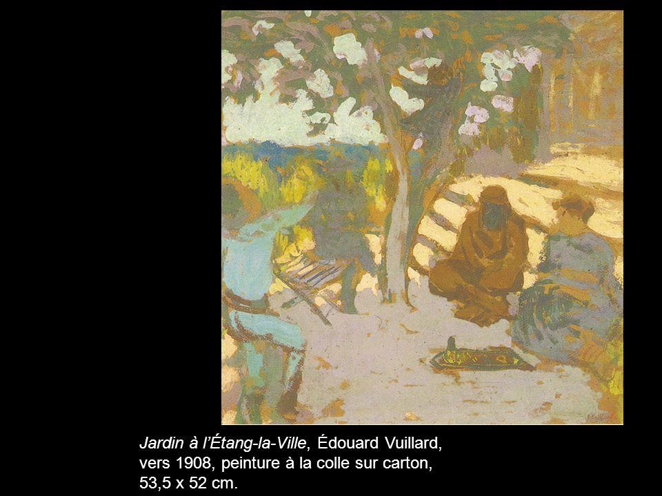 Jardin à l'Étang-la-Ville, Édouard Vuillard, vers 1908, peinture à la colle sur carton, 53,5 x 52 cm.