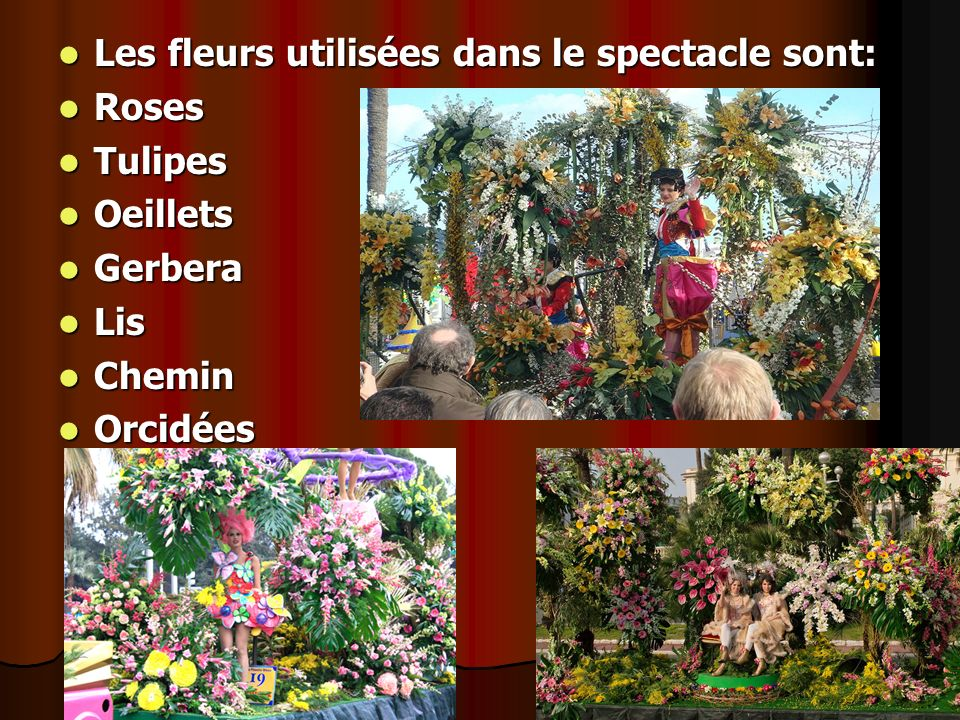 Les fleurs utilisées dans le spectacle sont: