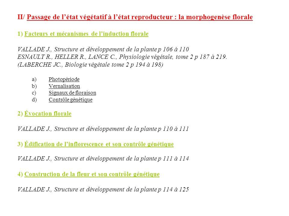 II/ Passage de l'état végétatif à l'état reproducteur : la morphogenèse florale