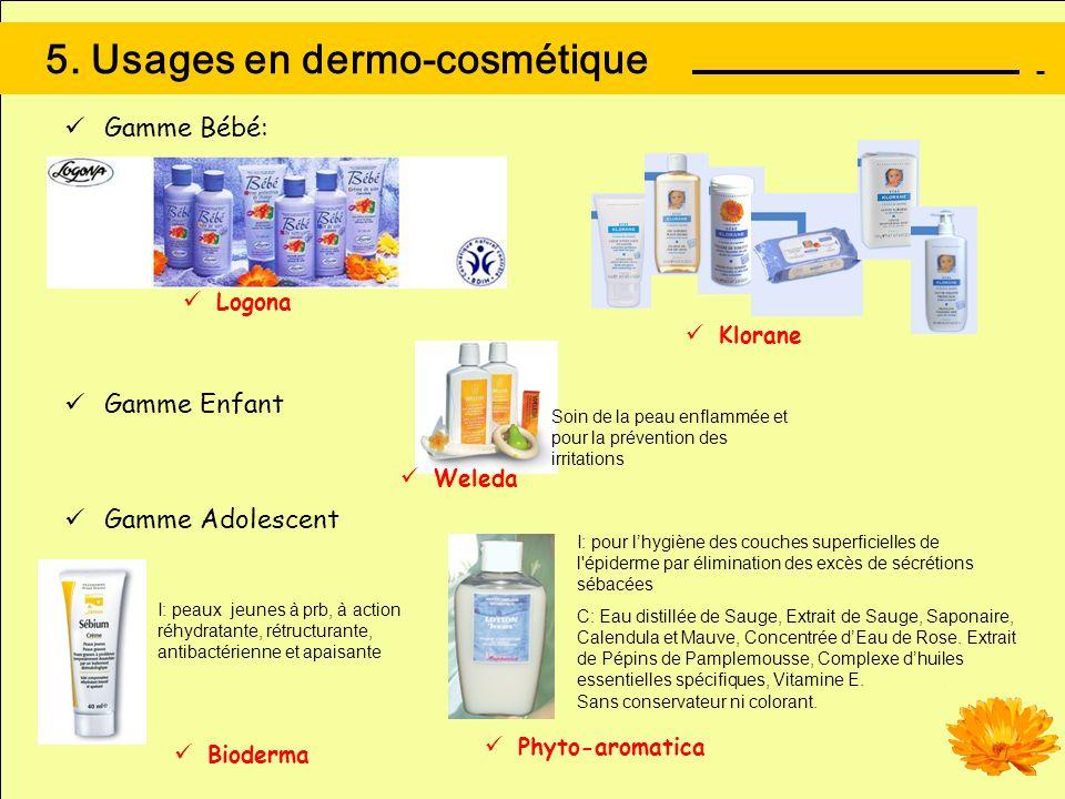 5. Usages en dermo-cosmétique