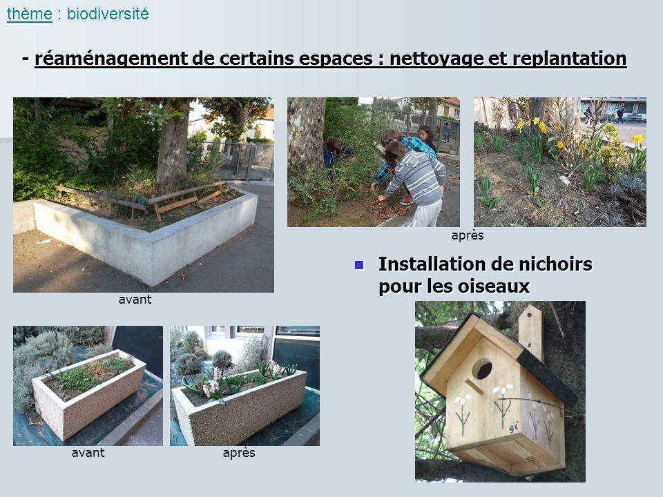 - réaménagement de certains espaces : nettoyage et replantation