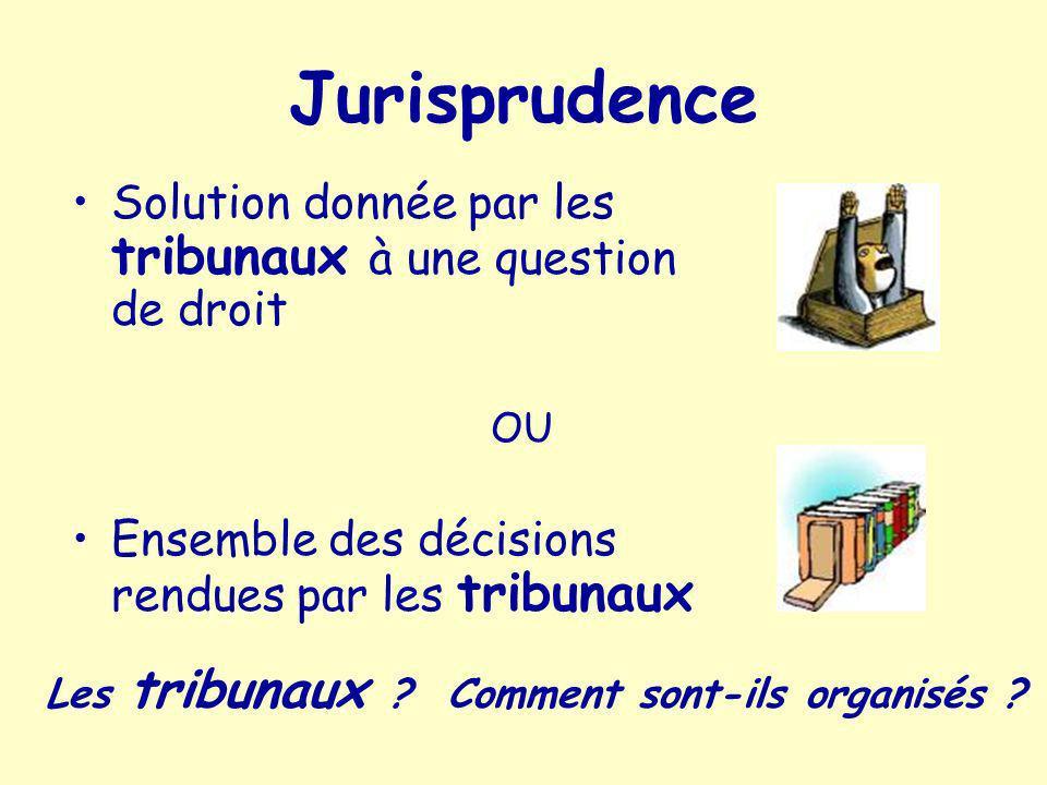 Jurisprudence Solution donnée par les tribunaux à une question de droit. OU. Ensemble des décisions rendues par les tribunaux.