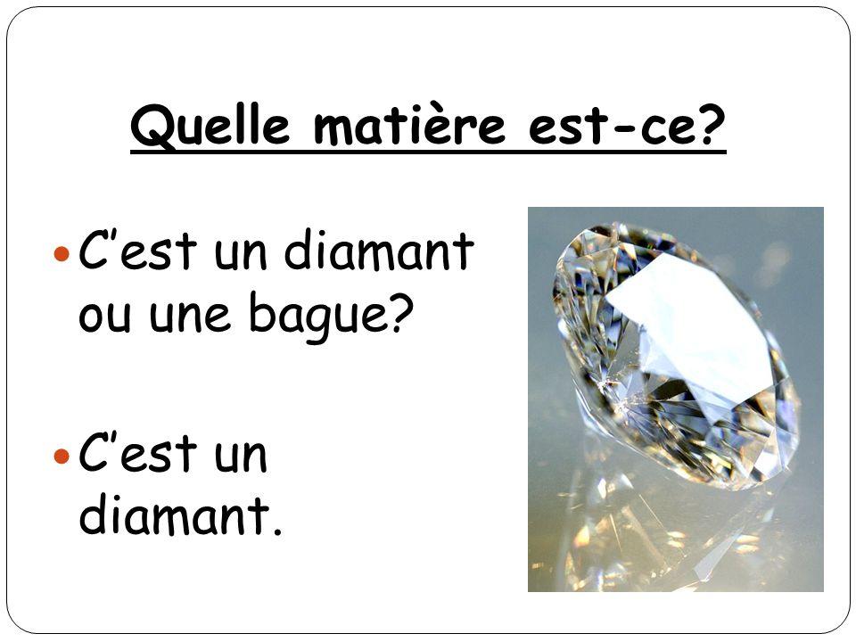 Quelle matière est-ce C'est un diamant ou une bague C'est un diamant.