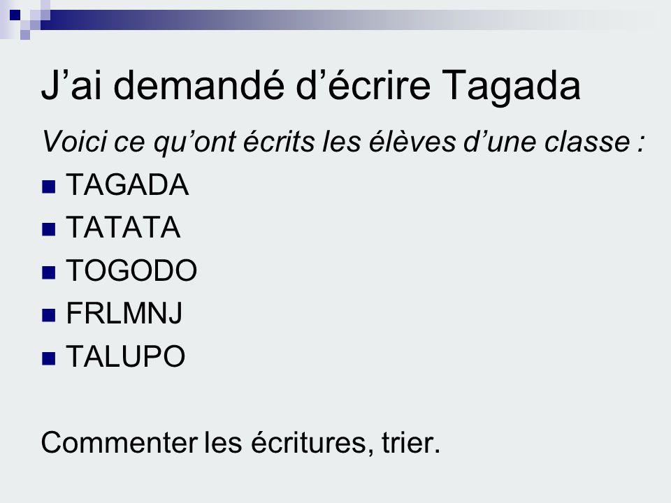 J'ai demandé d'écrire Tagada
