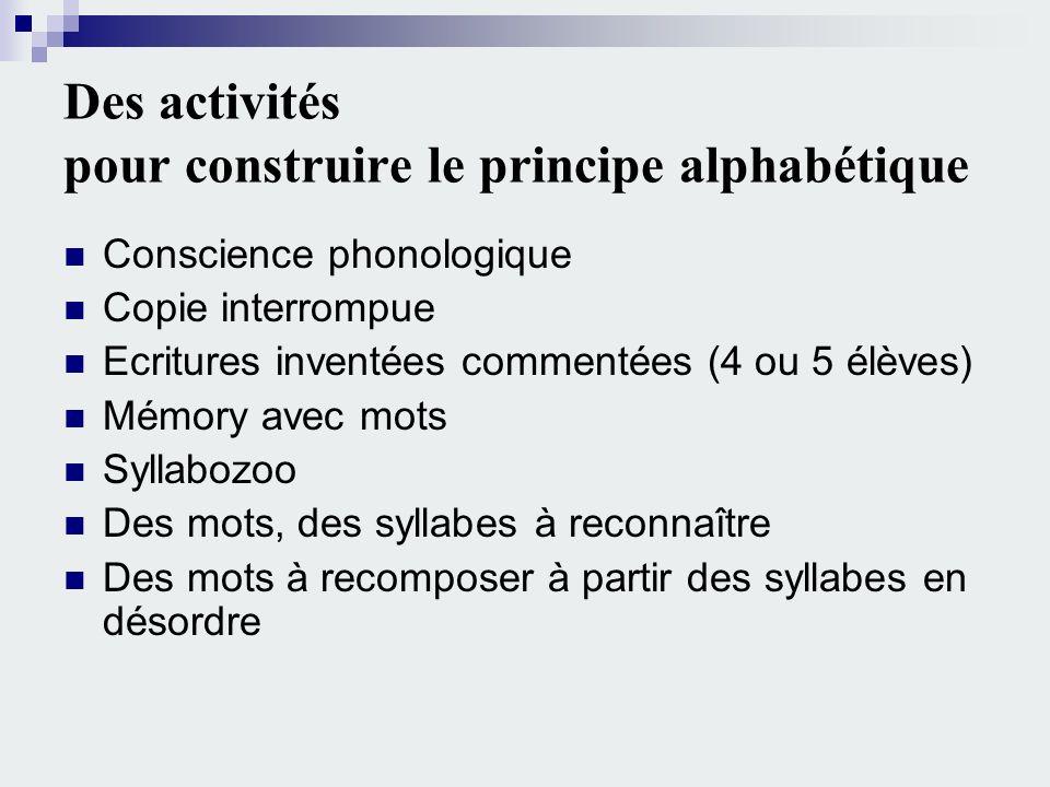 Des activités pour construire le principe alphabétique